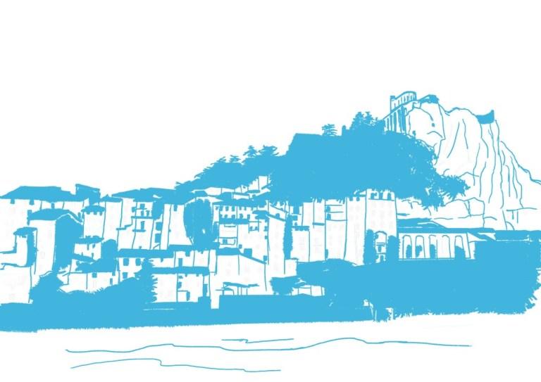 dessin réalisé sur tablette de la citadelle de Sisteron