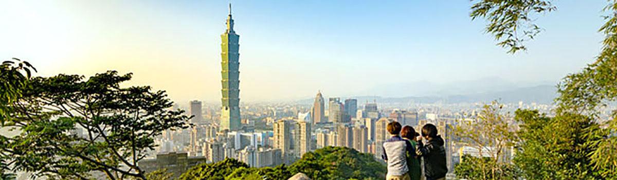 Skyline view of Taipei 101 and Beast Mountains