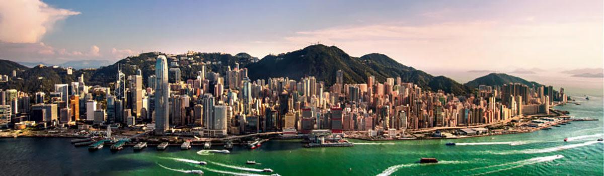 Skyline view of Hong Kong harbor