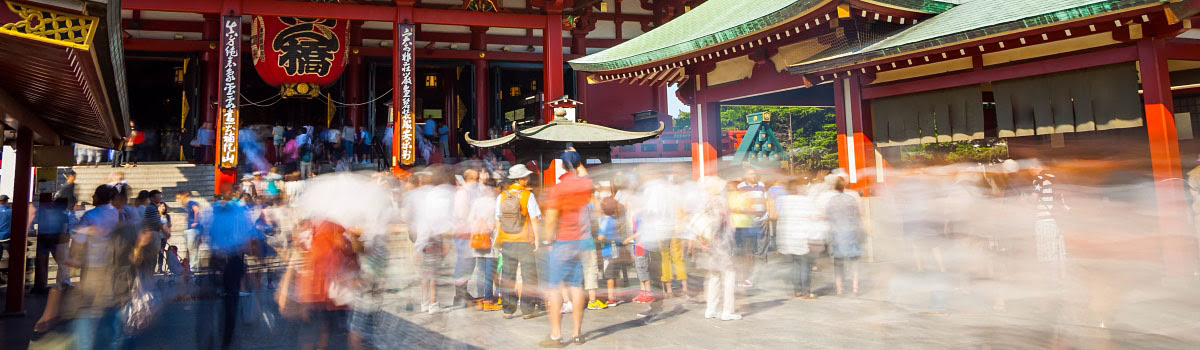 Tourists at busy shrine in Tokyo