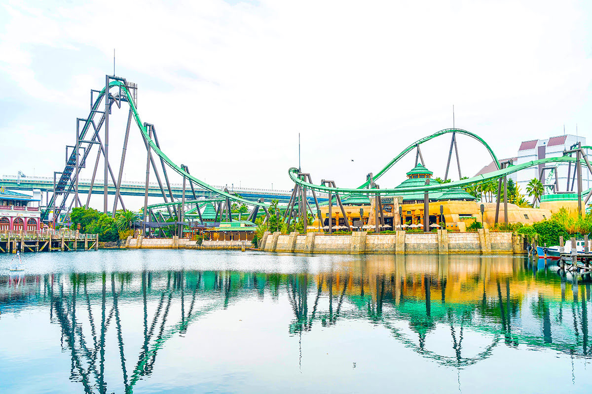 View of roller coaster at Universal Studios Japan in Osaka