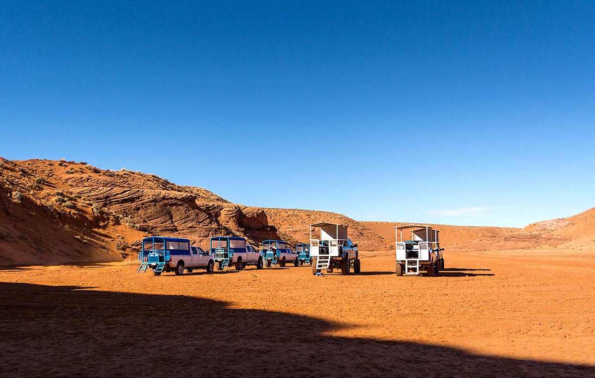 Antelope Canyon tours-southern Utah hiking-four-wheel drive trucks