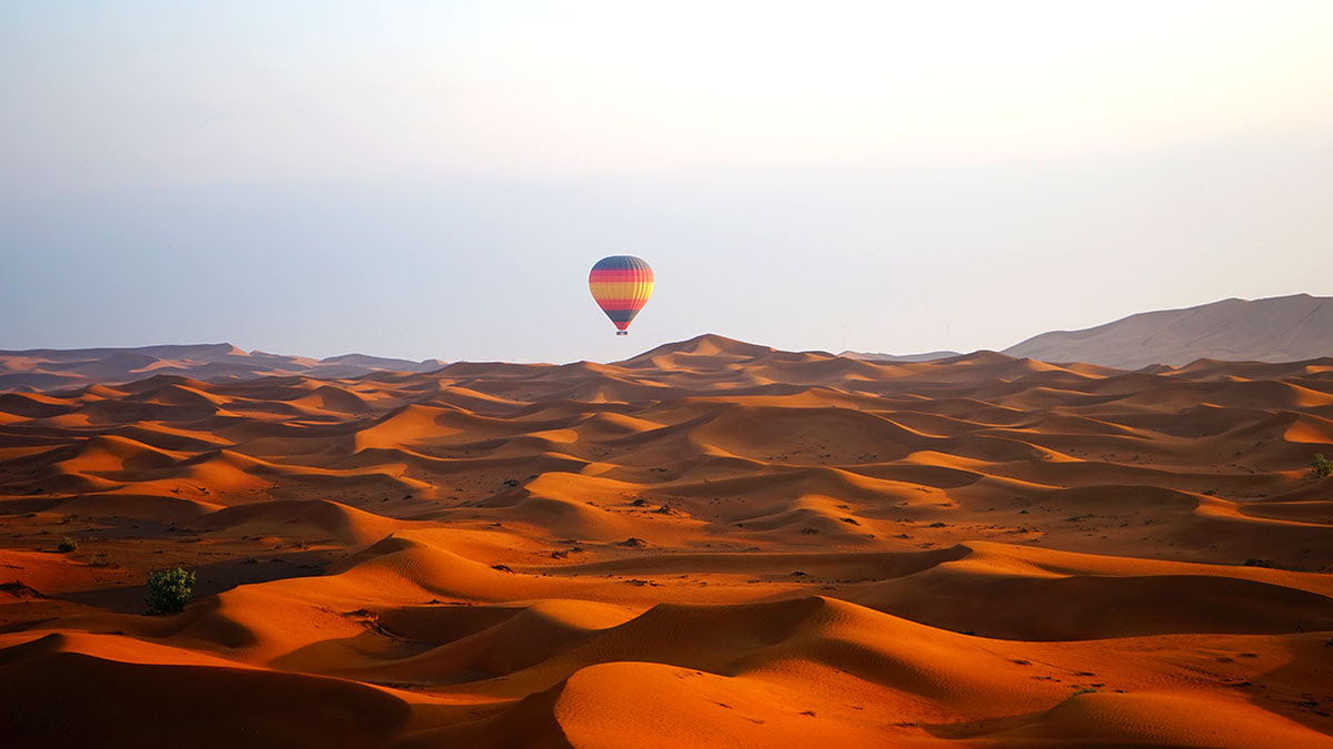 Desert Safari Dubai-camel rides-Bedouin camping-UAE-hot air balloon ride