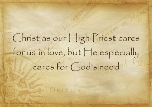 Christ as our High Priest cares for us in love, but He especially cares for God's need
