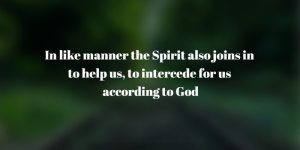 in like manner the Spirit also joins in to help us, to intercede for us according to God