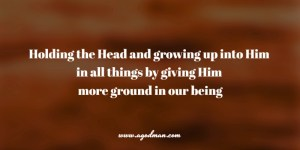 holding the Head and growing up into Him in all things by giving Him more ground in our being