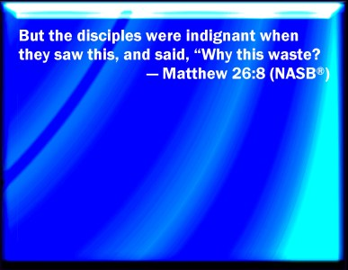 Matt. 26:8 But when the disciples saw it, they were indignant, saying, Why this waste?