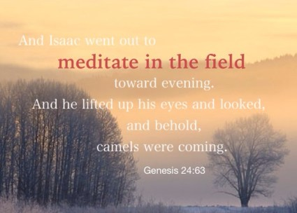 Genesis 24:63 And Isaac went out to meditate in the field toward evening. And he lifted up his eyes and looked, and behold, camels were coming.