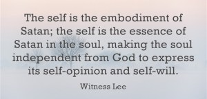 The Self is the Embodiment of Satan in our Soul, being Expressed through Opinions