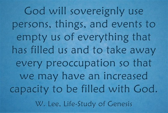 Maturity is having an increased capacity to be filled with god for Things that are empty
