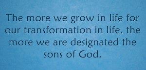Growing in Life for our Transformation in Life to be Designated the Sons of God