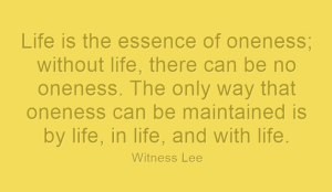 Life is the Essence of Oneness: we Keep the Oneness by Life, in Life, and with Life