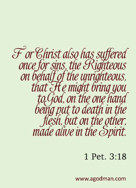 1 Pet. 3:18 For Christ also has suffered once for sins, the Righteous on behalf of the unrighteous, that He might bring you to God, on the one hand being put to death in the flesh, but on the other, made alive in the Spirit.