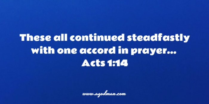 Acts 1:14 These all continued steadfastly with one accord in prayer...