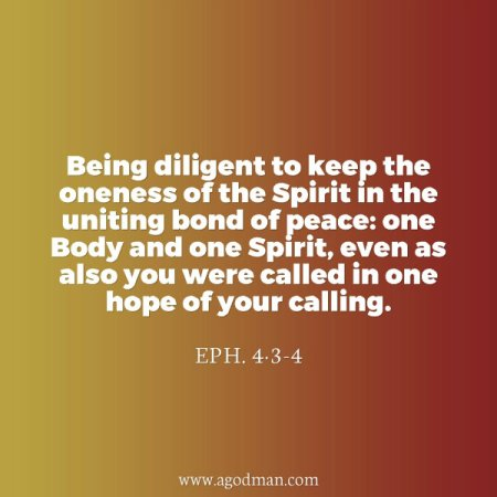 Eph. 4:3-4 Being diligent to keep the oneness of the Spirit in the uniting bond of peace: one Body and one Spirit, even as also you were called in one hope of your calling.