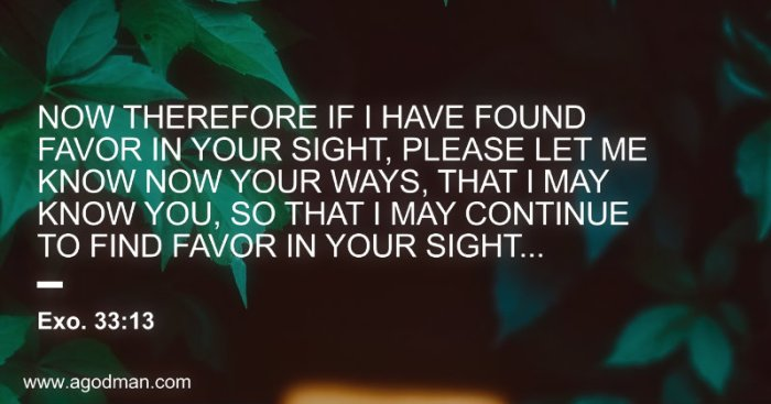 Exo. 33:13 Now therefore if I have found favor in Your sight, please let me know now Your ways, that I may know You, so that I may continue to find favor in Your sight...