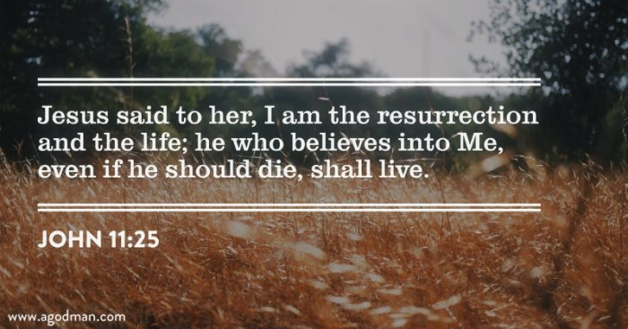 John 11:25 Jesus said to her, I am the resurrection and the life; he who believes into Me, even if he should die, shall live.