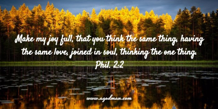 Phil. 2:2 Make my joy full, that you think the same thing, having the same love, joined in soul, thinking the one thing.