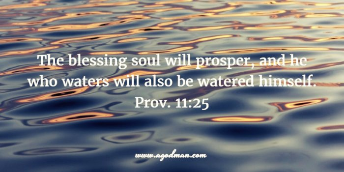 Prov. 11:25 The blessing soul will prosper, and he who waters will also be watered himself.