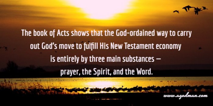 The book of Acts shows that the God-ordained way to carry out God's move to fulfill His New Testament economy is entirely by three main substances — prayer, the Spirit, and the Word.