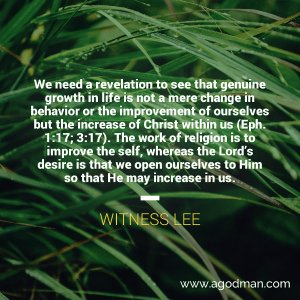 Growth in Life is not mere Change in Behavior but the Increase of Christ Within us