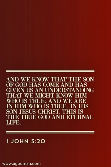 1 John 5:20 And we know that the Son of God has come and has given us an understanding that we might know Him who is true; and we are in Him who is true, in His Son Jesus Christ. This is the true God and eternal life.