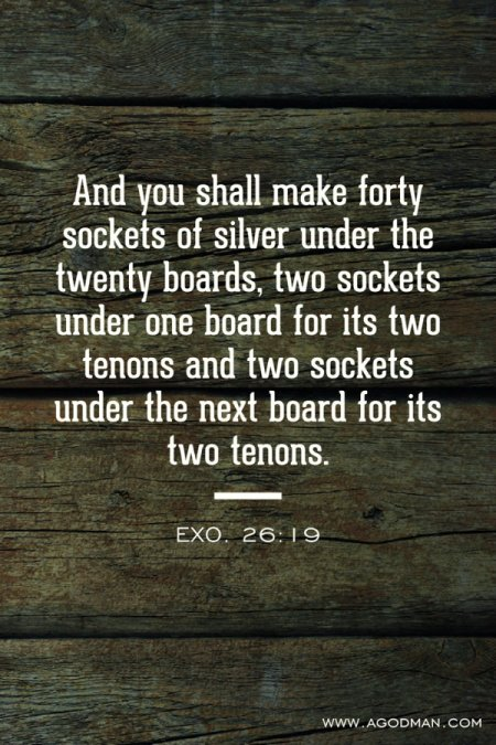 Exo. 26:19 And you shall make forty sockets of silver under the twenty boards, two sockets under one board for its two tenons and two sockets under the next board for its two tenons.