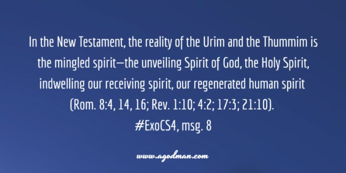 In the New Testament, the reality of the Urim and the Thummim is the mingled spirit—the unveiling Spirit of God, the Holy Spirit, indwelling our receiving spirit, our regenerated human spirit (Rom. 8:4, 14, 16; Rev. 1:10; 4:2; 17:3; 21:10). #ExoCS4, msg. 8