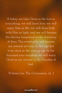Enjoying Christ as our Love, Life, and Light to keep the Testimony of Jesus