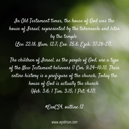 In Old Testament times, the house of God was the house of Israel, represented by the tabernacle and later by the temple (Lev. 22:18; Num. 12:7; Exo. 25:8; Ezek. 37:26-27). The children of Israel, as the people of God, are a type of the New Testament believers (1 Cor. 9:24—10:11). Their entire history is a prefigure of the church. Today the house of God is actually the church (Heb. 3:6; 1 Tim. 3:15; 1 Pet. 4:17). #ExoCS4, outline 12