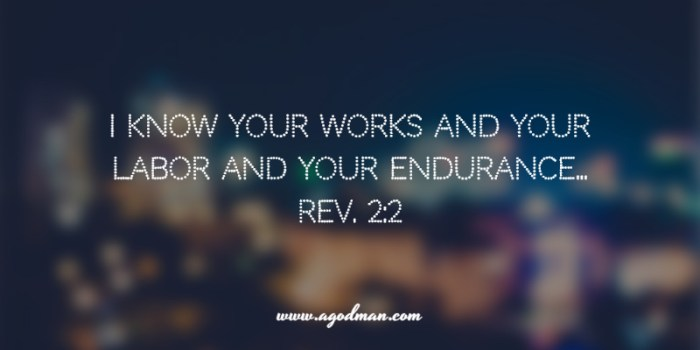 Rev. 2:2 I know your works and your labor and your endurance...