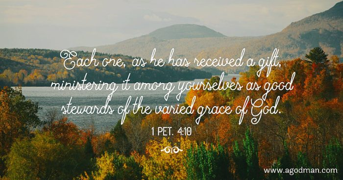 1 Pet. 4:10 Each one, as he has received a gift, ministering it among yourselves as good stewards of the varied grace of God.
