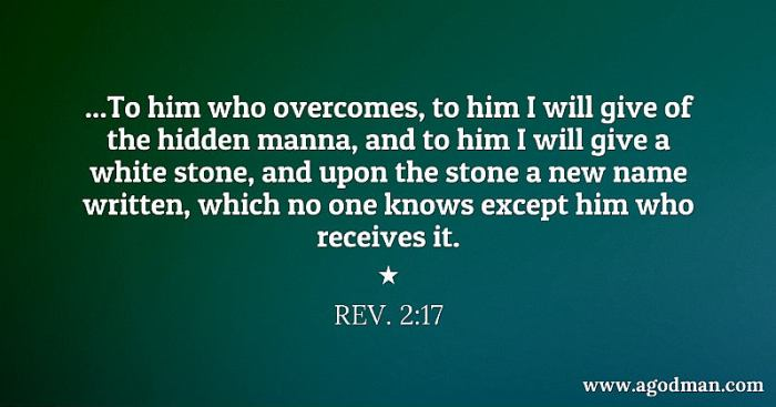 Rev. 2:17 ...To him who overcomes, to him I will give of the hidden manna, and to him I will give a white stone, and upon the stone a new name written, which no one knows except him who receives it.