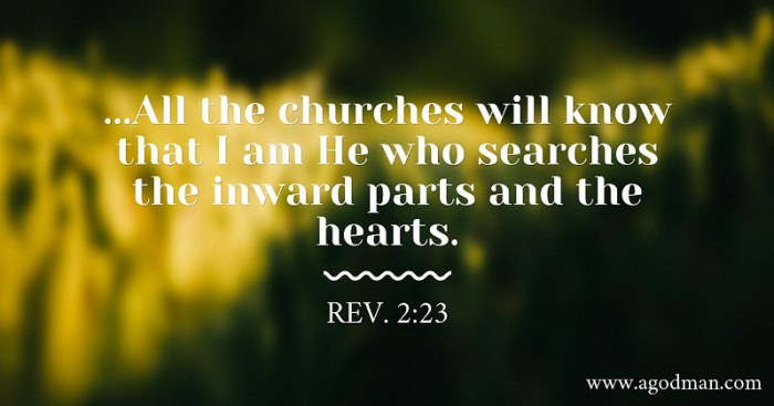 Rev. 2:23 ...All the churches will know that I am He who searches the inward parts and the hearts.