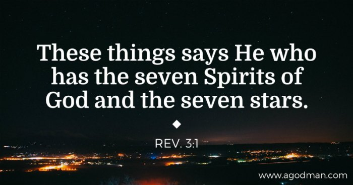 Rev. 3:1 These things says He who has the seven Spirits of God and the seven stars.