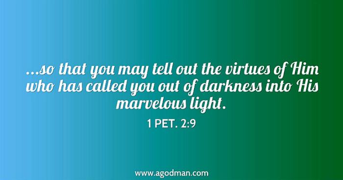 1 Pet. 2:9 ...so that you may tell out the virtues of Him who has called you out of darkness into His marvelous light.