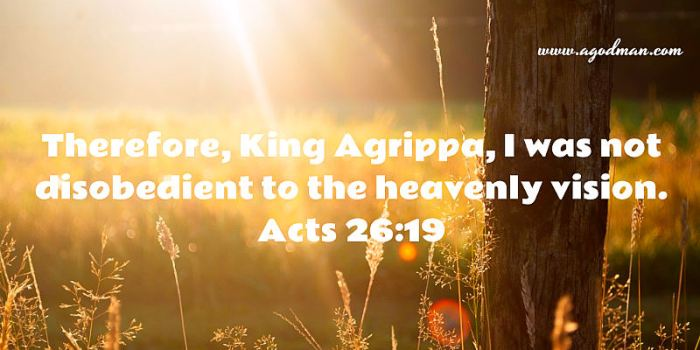 Acts 26:19 Therefore, King Agrippa, I was not disobedient to the heavenly vision.