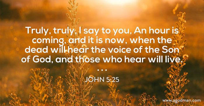 John 5:25 Truly, truly, I say to you, An hour is coming, and it is now, when the dead will hear the voice of the Son of God, and those who hear will live.