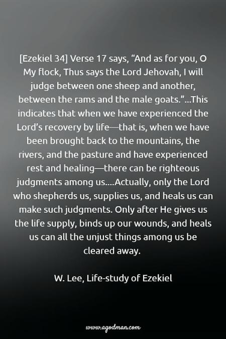 "[Ezekiel 34] Verse 17 says, ""And as for you, O My flock, Thus says the Lord Jehovah, I will judge between one sheep and another, between the rams and the male goats.""...This indicates that when we have experienced the Lord's recovery by life—that is, when we have been brought back to the mountains, the rivers, and the pasture and have experienced rest and healing—there can be righteous judgments among us....Actually, only the Lord who shepherds us, supplies us, and heals us can make such judgments. Only after He gives us the life supply, binds up our wounds, and heals us can all the unjust things among us be cleared away. W. Lee, Life-study of Ezekiel"