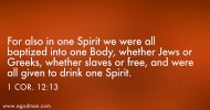 1 Cor. 12:13 For also in one Spirit we were all baptized into one Body, whether Jews or Greeks, whether slaves or free, and were all given to drink one Spirit.