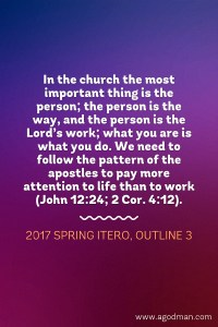 Paying more Attention to Life than to Work and Seeing how Paul was a Pattern in Shepherding
