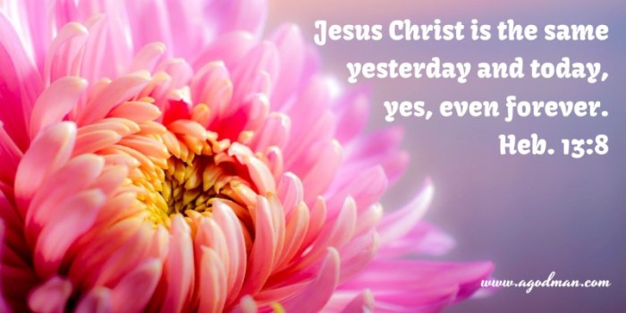 Heb. 13:8 Jesus Christ is the same yesterday and today, yes, even forever.