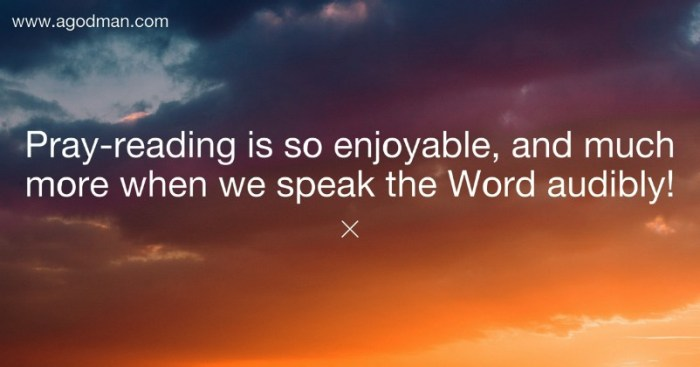 Pray-reading is so enjoyable, and much more when we speak the Word audibly!