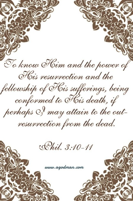 Phil. 3:10-11 To know Him and the power of His resurrection and the fellowship of His sufferings, being conformed to His death, if perhaps I may attain to the out-resurrection from the dead.