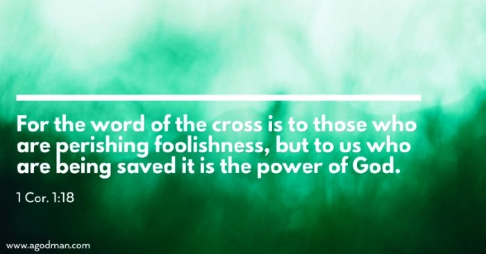1 Cor. 1:18 For the word of the cross is to those who are perishing foolishness, but to us who are being saved it is the power of God.