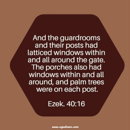 Ezek. 40:16 And the guardrooms and their posts had latticed windows within and all around the gate. The porches also had windows within and all around, and palm trees were on each post.