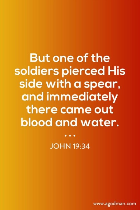 John 19:34 But one of the soldiers pierced His side with a spear, and immediately there came out blood and water.