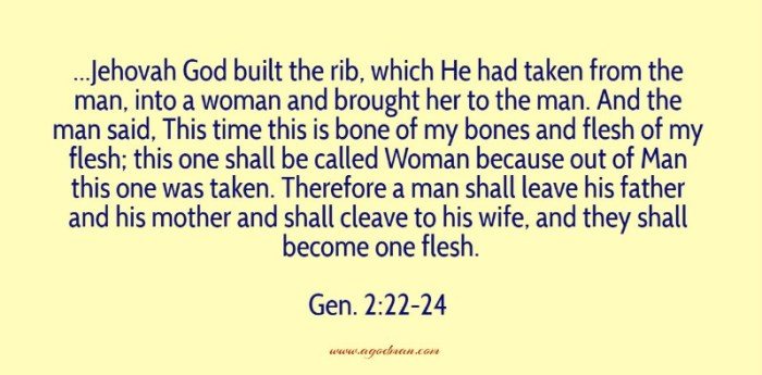 Gen. 2:22-24 ...Jehovah God built the rib, which He had taken from the man, into a woman and brought her to the man. And the man said, This time this is bone of my bones and flesh of my flesh; this one shall be called Woman because out of Man this one was taken. Therefore a man shall leave his father and his mother and shall cleave to his wife, and they shall become one flesh.
