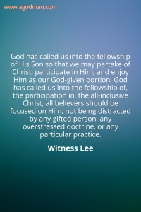 Fellowship is the Circulation of the Divine Life in the Body of Christ