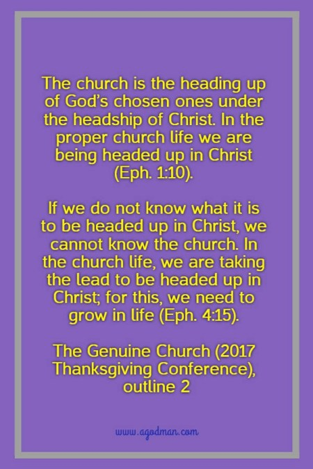 The church is the heading up of God's chosen ones under the headship of Christ. In the proper church life we are being headed up in Christ (Eph. 1:10). If we do not know what it is to be headed up in Christ, we cannot know the church. In the church life, we are taking the lead to be headed up in Christ; for this, we need to grow in life (Eph. 4:15). The Genuine Church (2017 Thanksgiving Conference), outline 2